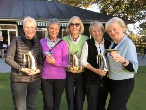 2016-vinderne af Tirsdagsklubbens vandrepræmier.. Fra venstre Else Bjerg-Pedersen, Vivian Hallstein, Eva Bramsnæs, Birgit Peitersen og Ingelise Randow.
